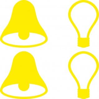 2 Sets Aufkleber 5cm gelb Tattoo Tür Taster Schalter Lampe Licht Klingel Symbole