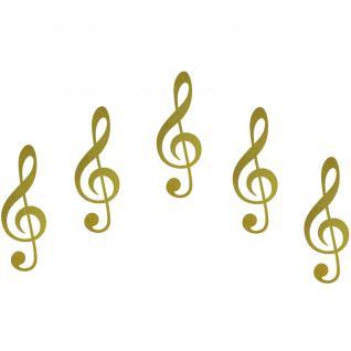5 Aufkleber 10cm gold Noten Violinschlüssel Auto Tür Fenster Tattoo Deko Folie