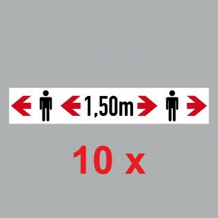 10 Aufkleber 20cm Sticker Bitte 1, 5m Corona Abstand halten Hinweis 4061963068755