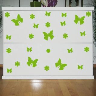 25 Aufkleber grün Schmetterlinge & Blumen Tattoo Schrank Komode Tür Deko Folie
