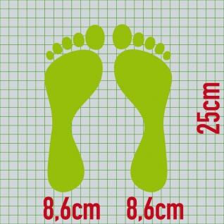 1 Paar 2 Füße 25cm grün Fuß Abdruck Spur Aufkleber Auto Möbel Tattoo Deko Folie - Vorschau 2
