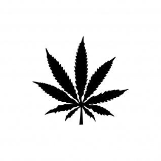 1 Hanf Blatt 8cm schwarz THC Gras Pflanze Marihuana Aufkleber Tattoo Deko Folie