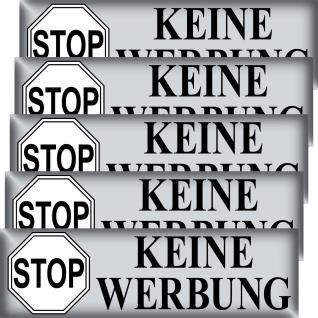 5 Aufkleber 6, 5cm Stop KEINE WERBUNG schw einwerfen einschmeißen Verbot Sticker