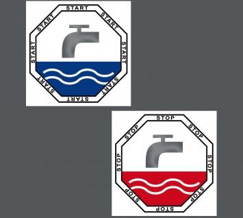 Set Aufkleber 5cm Sticker Start Stop WC Taste Toilette Wasser Spülung Spülkasten