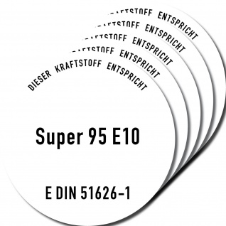 5 Aufkleber Sticker SUPER 95 E10 Benzin Hinweis Kanister Behälter Auto Pkw Tank