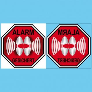 5 Sets Aufkleber 10cm rot Sticker Alarm gesichert gespiegelt für Innenseite Glas