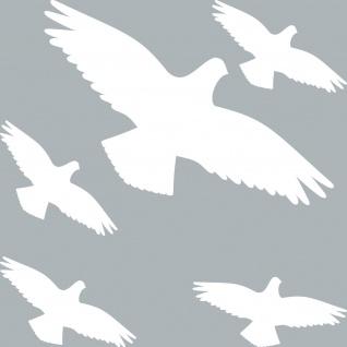 Set Aufkleber Vogel Habicht weiß Wintergarten Balkon Fenster Glas Schutz Vögel