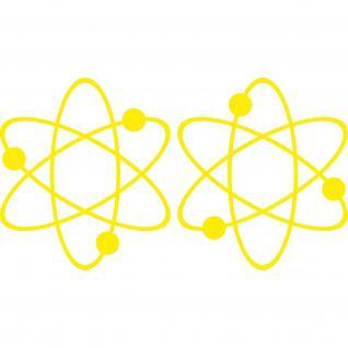 2 Aufkleber Tattoo gelb 17cm big bang theory Atom ipad Auto Decal Deko Folie