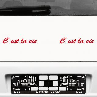 2 Stk. C est la vie 20cm rot Schriftzug Aufkleber Tattoo Auto die cut Deko Folie