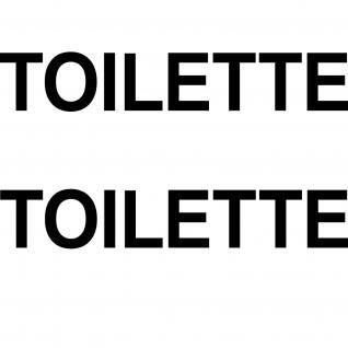 2 Aufkleber 35cm schwarz TOILETTE Hinweis Schriftzug Tür WC Tattoo Deko Folie - Vorschau 1