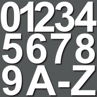 7cm weiß Aufkleber Hausnummer Wunsch Wahl Nr Nummer Zahl Ziffer Buchstabe ABC