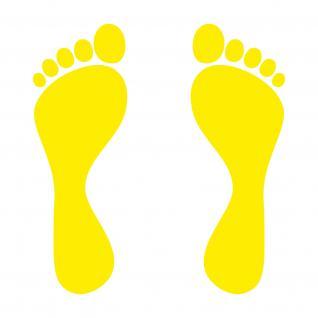 5 Paar 10 Füße 20cm gelb Fußspur Fuß Abdruck Aufkleber Tattoo die cut Deko Folie