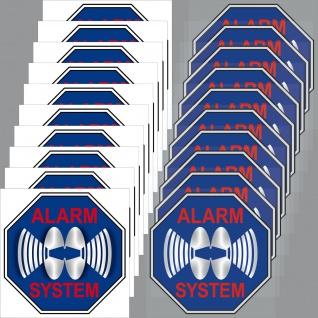 10+10 Aufkleber blau 5cm Sticker Alarm System für Innenseite Glasscheibe Fenster