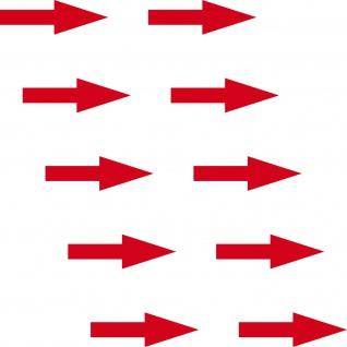 10 Aufkleber Pfeil 5cm schmal rot Tattoo Deko Folie Hinweis Rohr Fluss Richtung