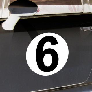 2 Aufkleber 20cm Start Nummer 6 Ziffer Zahl Sticker Racing Auto Motor Sport Kart