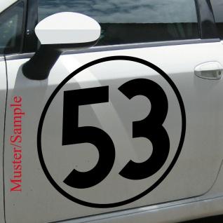Aufkleber Tattoo 53 schwarz 50cm Auto Folie Racing Startnummer Nummer Herbie Nr