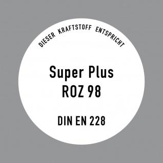Aufkleber 10cm Sticker Super Plus Benzin ROZ 98 DIN EN 228 Tankstelle Zapfsäule