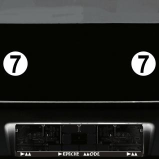2 Stück Startnummern 9cm Kreis weiß + Ziffer 7cm schwarz Auto Racing Aufkleber