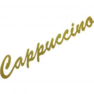 Cappuccino 37cm gold Schriftzug Wandtattoo Aufkleber Tattoo Deko Folie Bar Küche