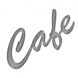 Cafe 15cm silber Aufkleber Tattoo Folie Schriftzug Schreibschrift Kühlschrank