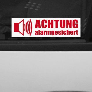 5 Aufkleber Achtung Alarmgesichert Folie rot auf weiß gespiegelt für Innenseite