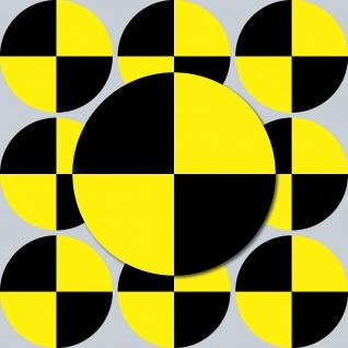 10 Aufkleber 10cm rund gelb Sticker Fadenkreuz crash test dummy Zeichen Symbol