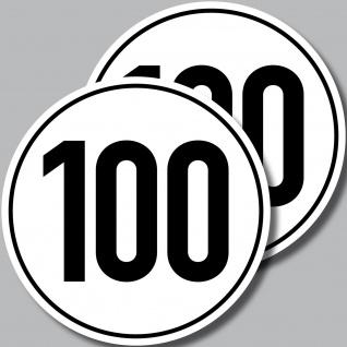2 Aufkleber 10cm Sticker 100 kmh km/h Geschwindigkeit Auto Bus Pkw Roller Kart