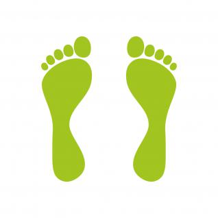 4 Paar 12cm grün Füße Fuß Abdruck Fußspur Aufkleber Tattoo die cut Deko Folie