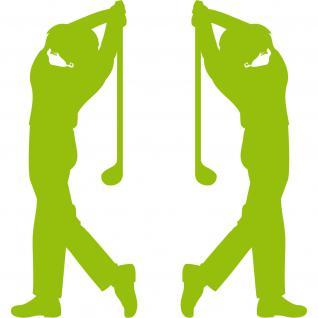 2 Aufkleber Tattoo 30cm grün Golfspieler Golfer Golfsport Auto Tür Deko Folie