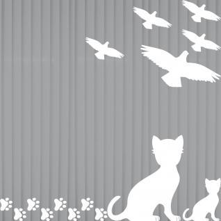 Set w Vögel Katze Pfötchen Aufkleber Tattoo Vogel Fenster Glas Schutz Deko Folie