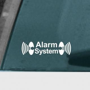 Alarm System weiß Aufkleber Tattoo Auto Schaufenster Außenseite getönte Scheibe