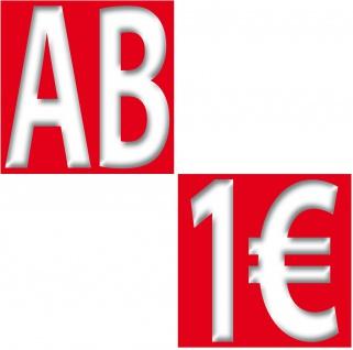 2 Aufkleber je 10cm AB + 1€ Sticker Zeichen Rabatt Preis Aktion Hinweis auf SALE