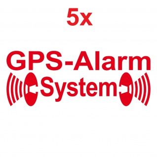 5 Aufkleber Tattoo GPS Alarm System gespiegelt rot Auto Glas Folie Autoaufkleber