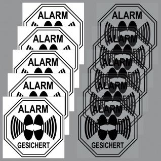 5 + 5 Aufkleber Alarm Gesichert 5cm schw Sticker Set f Innenseite Fensterscheibe