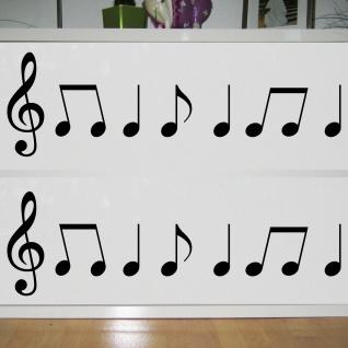 2 Sets Violinschlüssel 20cm + Noten schwarz Auto Fenster Tür Aufkleber Tattoo