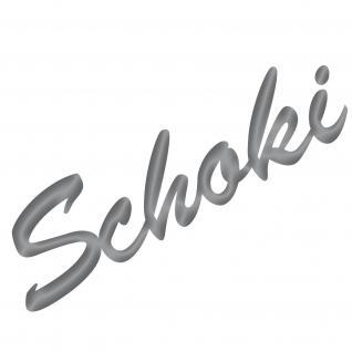Schoki 19cm silber Aufkleber Tattoo Deko Folie Schriftzug Küche Bar Kühlschrank