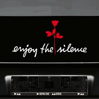 Enjoy the silence weiss 45cm + Rose rot 20cm Autoaufkleber Tattoo Depeche Mode