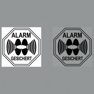 Set Aufkleber Alarm gesichert 5cm schwarz Sticker für Innenseite 4061963000137