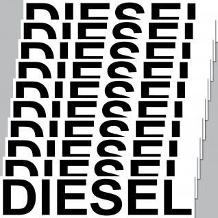 10 Stück Diesel 20cm Aufkleber Sticker Hinweis Kraftstoff Tanken Auto Pkw Bus