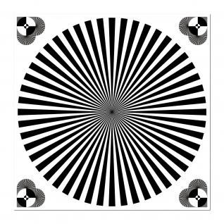 Aufkleber 10cm UV Sticker Siemensstern Testmuster Chart Fokus Grautafel SLR DSLR