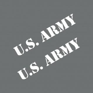 2 Aufkleber 15cm Schriftzug weiß US Army Auto Deko Folie Tattoo USA Klebefolie