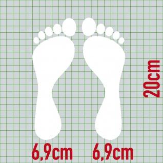 1 Paar 2 Füße 20cm weiß Fuß Abdruck Spur Aufkleber Auto Möbel Tattoo Deko Folie - Vorschau 2
