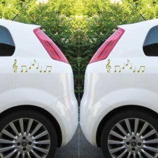2 Sets Violinschlüssel 10cm + Noten gold Auto Fenster Aufkleber Tattoo Folie