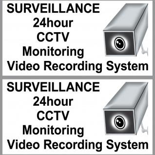 2 Aufkleber 20cm Sticker 24h CCTV Alarm Video Kamera Monitoring System Warnung