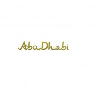 Schriftzug Abu Dhabi 10cm gold Auto Tür Heck Fenster Aufkleber Tattoo Deko Folie