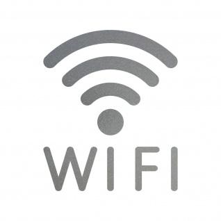 Aufkleber Tattoo WIFI 30cm silber WLAN Hotspot kostenlos Internet Zugang Zeichen