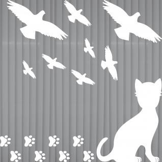 Set groß w Katze Pfötchen Vogel Aufkleber Tattoo Fenster Glas Schutz Deko Folie