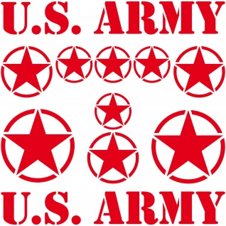 Set USA Sterne & Schrift rot US Army NAVY Auto Jeep Aufkleber Tattoo Deko Folie