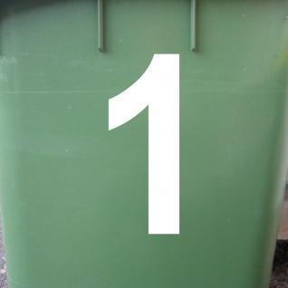 Ziffer 1 weiß 15cm Aufkleber Tattoo Nummer Zahl Hausnummer Haus Tür Mülltonne - Vorschau 2