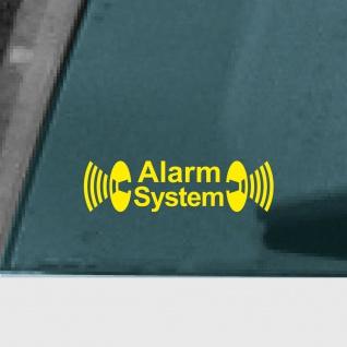 Alarm System gelb Aufkleber Tattoo Auto Schaufenster Außenseite getönte Scheibe
